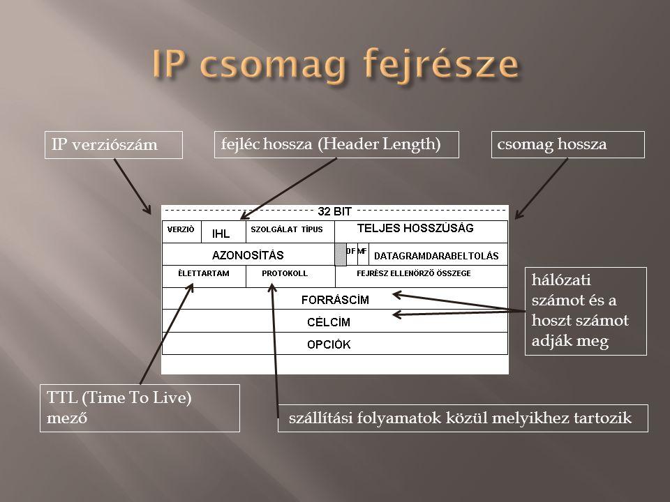 IP verziószám fejléc hossza (Header Length)csomag hossza TTL (Time To Live) mező szállítási folyamatok közül melyikhez tartozik hálózati számot és a hoszt számot adják meg