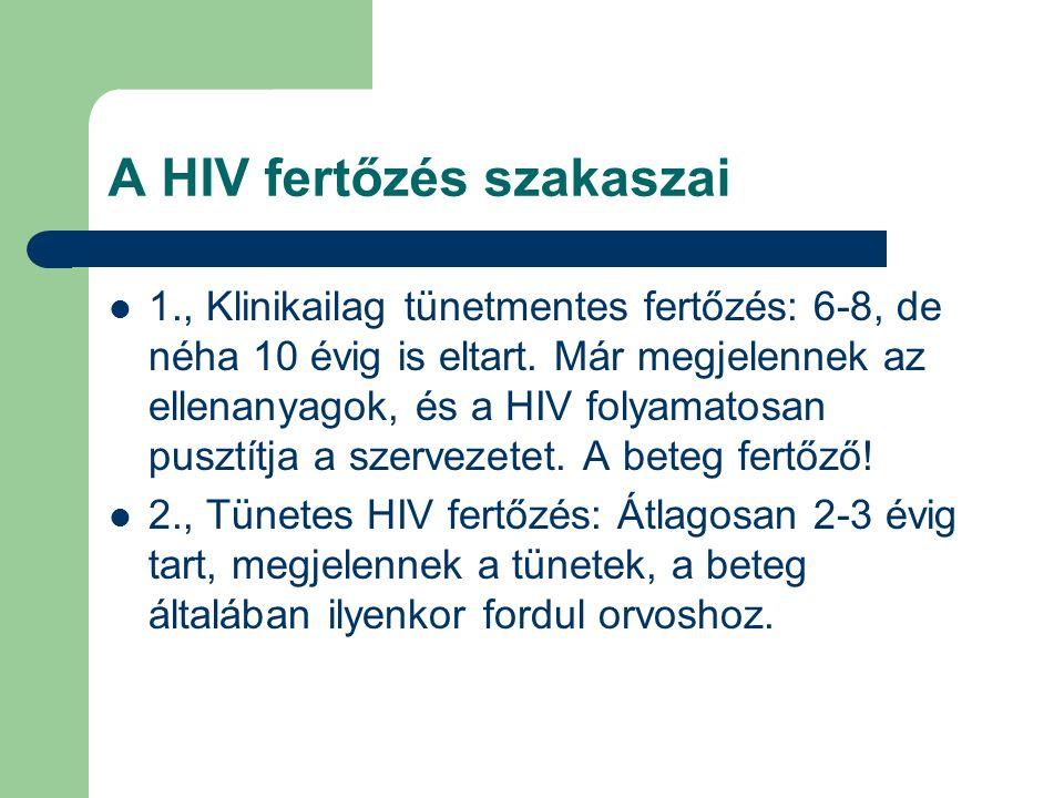 A HIV fertőzés szakaszai 1., Klinikailag tünetmentes fertőzés: 6-8, de néha 10 évig is eltart.