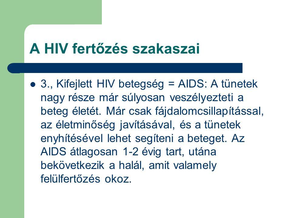 A HIV fertőzés szakaszai 3., Kifejlett HIV betegség = AIDS: A tünetek nagy része már súlyosan veszélyezteti a beteg életét.