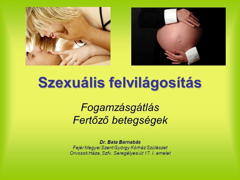 Szexuális felvilágosítás Fogamzásgátlás Fertőző betegségek Dr. Bata Barnabás Fejér Megyei Szent György Kórház Szülészet Orvosok Háza, Szfv. Seregélyes
