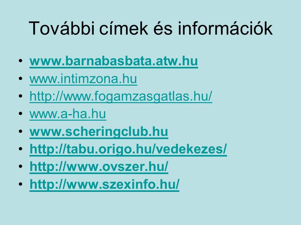 További címek és információk www.barnabasbata.atw.hu www.intimzona.hu http://www.fogamzasgatlas.hu/ www.a-ha.hu www.scheringclub.hu http://tabu.origo.