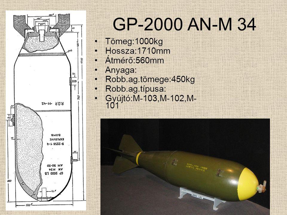 GP-1000 AN-M 65 Tömeg:454kg Hossza:1349mm szárny nélkül Átmérő:478mm Anyaga: Robb.ag.