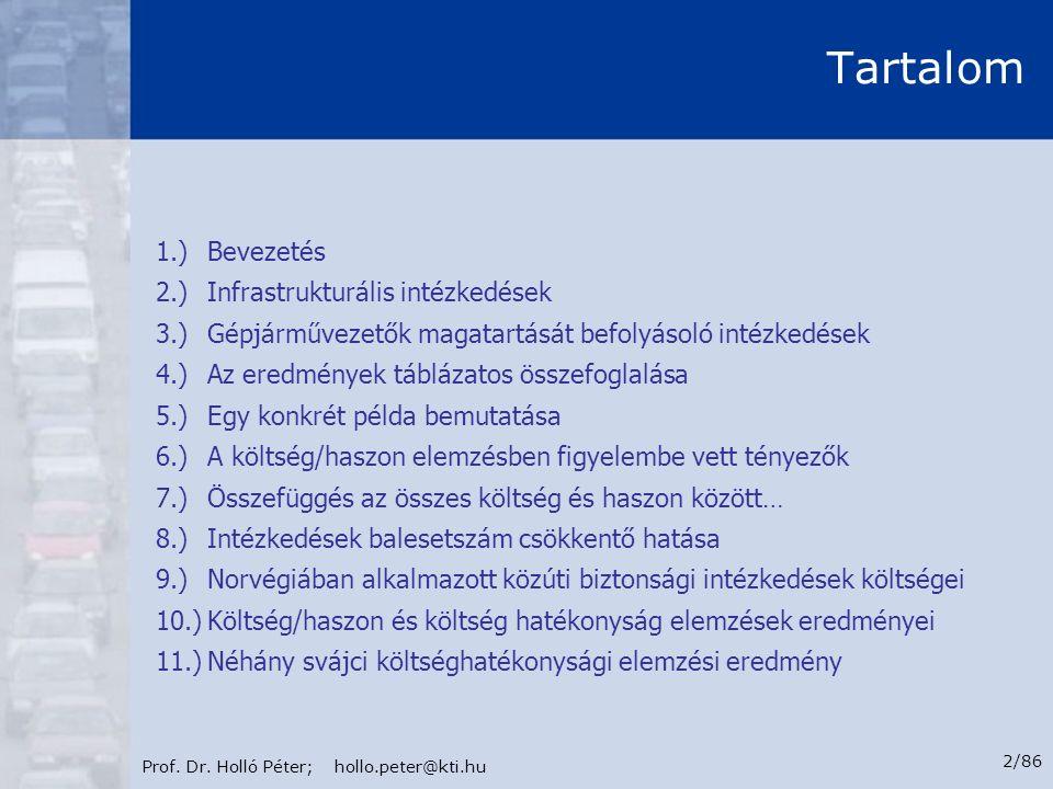 Prof. Dr. Holló Péter; hollo.peter@kti.hu 2/86 Tartalom 1.)Bevezetés 2.)Infrastrukturális intézkedések 3.)Gépjárművezetők magatartását befolyásoló int