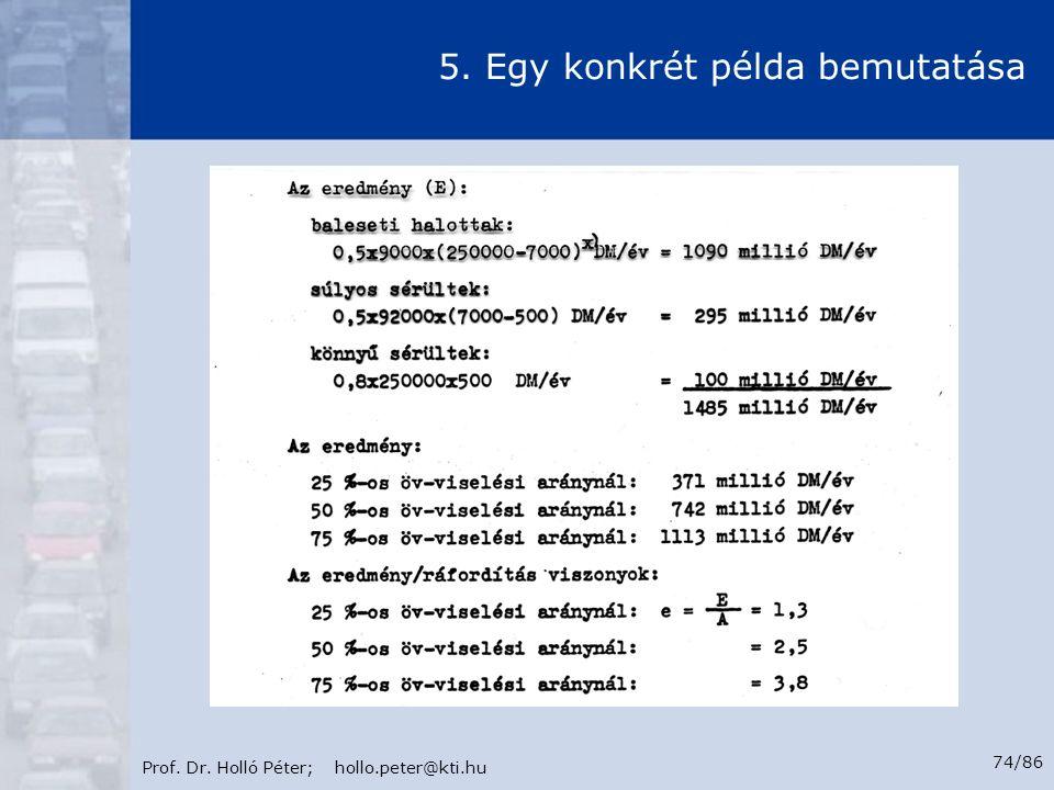 Prof. Dr. Holló Péter; hollo.peter@kti.hu 74/86 5. Egy konkrét példa bemutatása