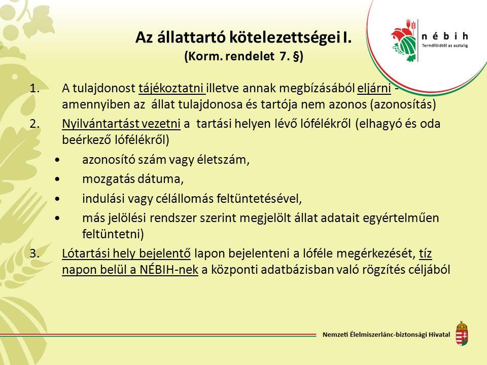 Az állattartó kötelezettségei I. (Korm. rendelet 7. §) 1.A tulajdonost tájékoztatni illetve annak megbízásából eljárni - amennyiben az állat tulajdono