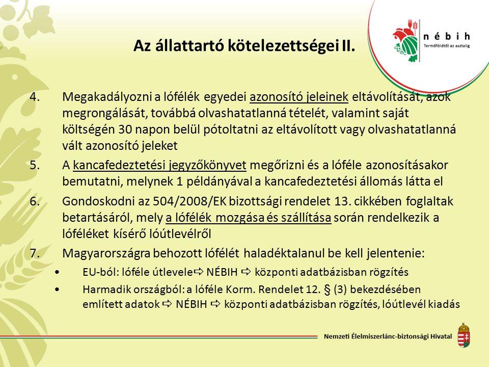 Az állattartó kötelezettségei II.