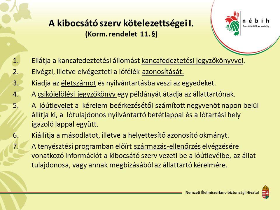 A kibocsátó szerv kötelezettségei I. (Korm. rendelet 11. §) 1.Ellátja a kancafedeztetési állomást kancafedeztetési jegyzőkönyvvel. 2.Elvégzi, illetve