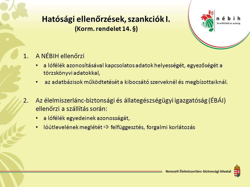 Hatósági ellenőrzések, szankciók I. (Korm. rendelet 14.