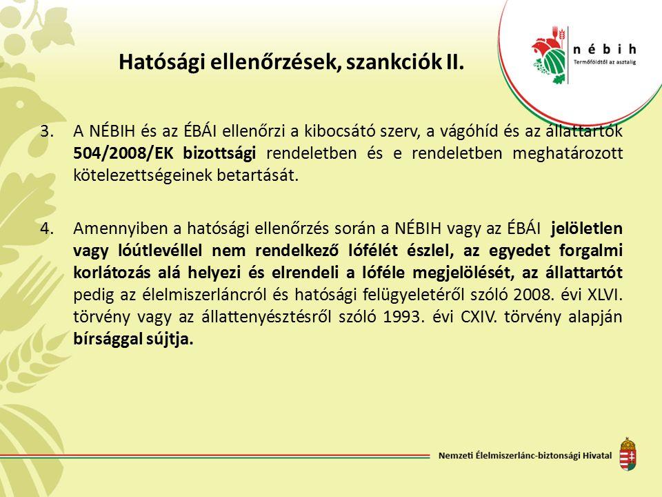Hatósági ellenőrzések, szankciók II. 3.A NÉBIH és az ÉBÁI ellenőrzi a kibocsátó szerv, a vágóhíd és az állattartók 504/2008/EK bizottsági rendeletben
