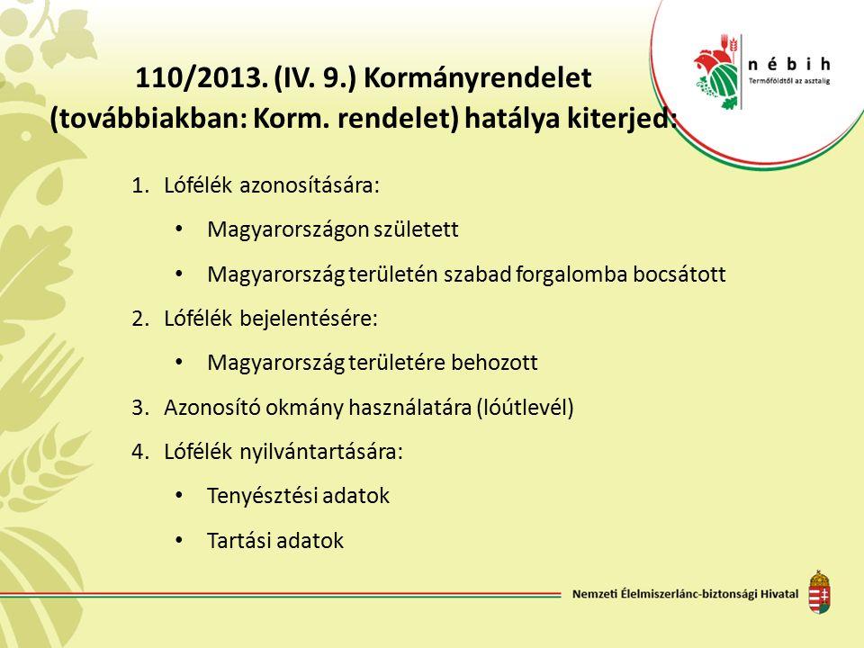 110/2013. (IV. 9.) Kormányrendelet (továbbiakban: Korm. rendelet) hatálya kiterjed: 1.Lófélék azonosítására: Magyarországon született Magyarország ter