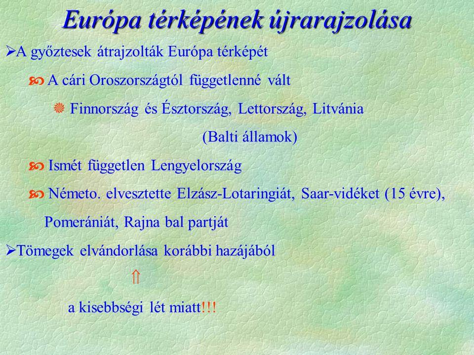 Európa térképének újrarajzolása  A győztesek átrajzolták Európa térképét  A cári Oroszországtól függetlenné vált  Finnország és Észtország, Lettország, Litvánia (Balti államok)  Ismét független Lengyelország  Németo.