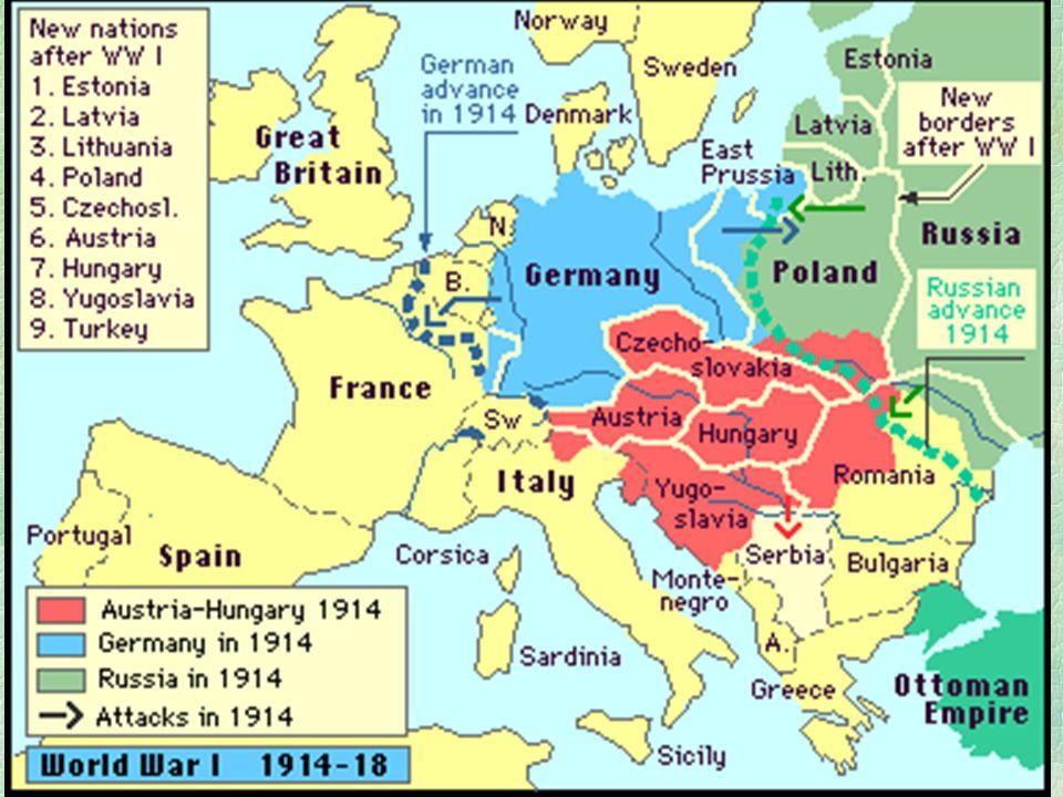 A hatalmi pozíciók megváltozása  A nagyhatalmi erőviszonyok megváltoztak  OMM   Oroszország  Lenin bolsevik forradalma  Németország jelentősen meggyengült  Anglia és Franciaország hatalmi pozíciói erősödnek  de az első világháború nagy vesztese  Európa  Gazdasági súlya erőteljesen csökken  A világgazdaság központja USA  Wall Street  A nagyhatalmi érdekellentéteket  tudták megoldani  Sőt új konfliktus források alakultak ki  Németország, Magyarország, az új Oroszo., soknemzetiségű Balkán