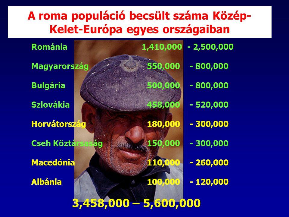 A roma populáció becsült száma Közép- Kelet-Európa egyes országaiban Románia 1,410,000 - 2,500,000 Magyarország550,000 - 800,000 Bulgária500,000 - 800,000 Szlovákia458,000 - 520,000 Horvátország180,000 - 300,000 Cseh Köztársaság150,000 - 300,000 Macedónia110,000 - 260,000 Albánia100,000 - 120,000 3,458,000 – 5,600,000