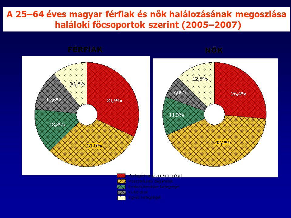 A 25–64 éves magyar férfiak és nők halálozásának megoszlása haláloki főcsoportok szerint (2005–2007)