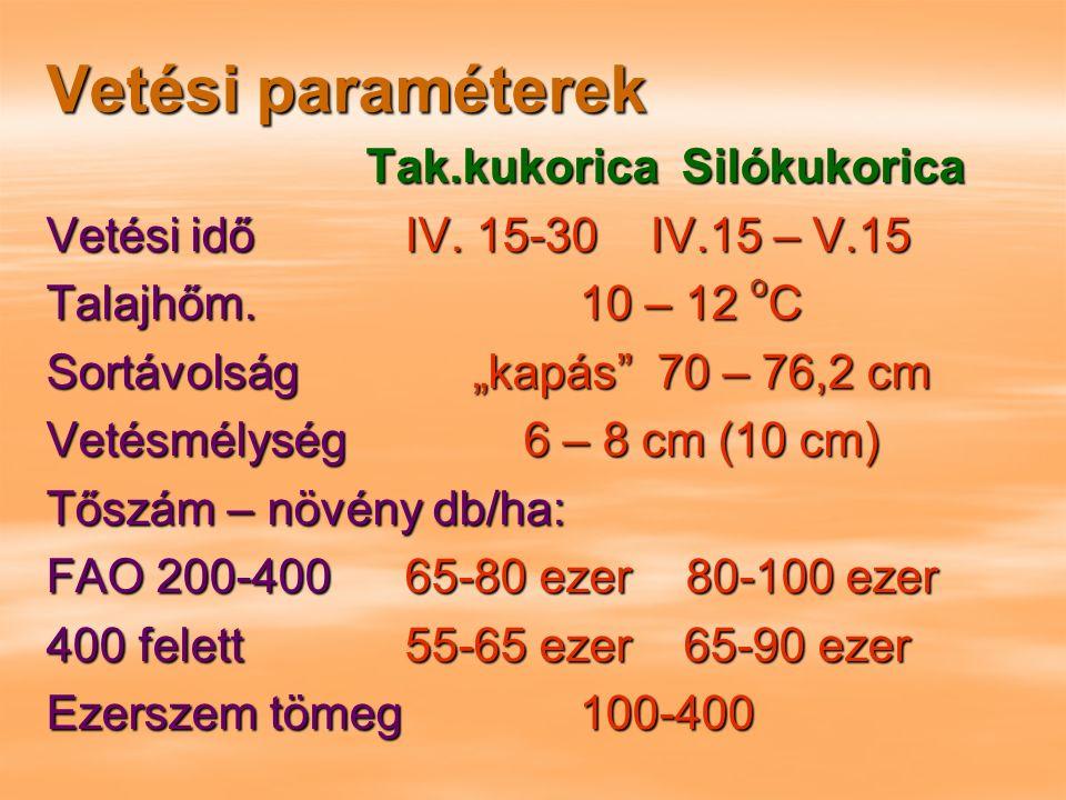 """Vetési paraméterek Tak.kukorica Silókukorica Vetési idő IV. 15-30 IV.15 – V.15 Talajhőm.10 – 12 o C Sortávolság""""kapás"""" 70 – 76,2 cm Vetésmélység 6 – 8"""