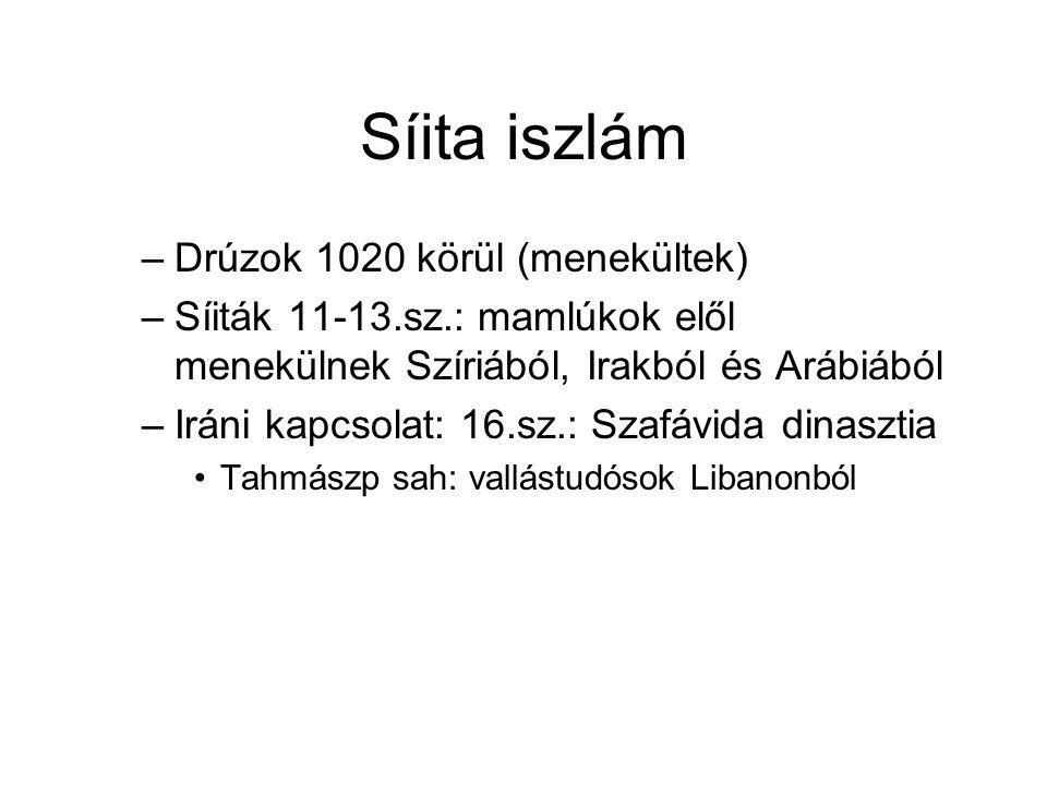 Síita iszlám –Drúzok 1020 körül (menekültek) –Síiták 11-13.sz.: mamlúkok elől menekülnek Szíriából, Irakból és Arábiából –Iráni kapcsolat: 16.sz.: Szafávida dinasztia Tahmászp sah: vallástudósok Libanonból