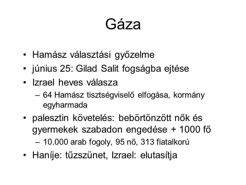 Gáza Hamász választási győzelme június 25: Gilad Salit fogságba ejtése Izrael heves válasza –64 Hamász tisztségviselő elfogása, kormány egyharmada palesztin követelés: bebörtönzött nők és gyermekek szabadon engedése + 1000 fő –10.000 arab fogoly, 95 nő, 313 fiatalkorú Haníje: tűzszünet, Izrael: elutasítja