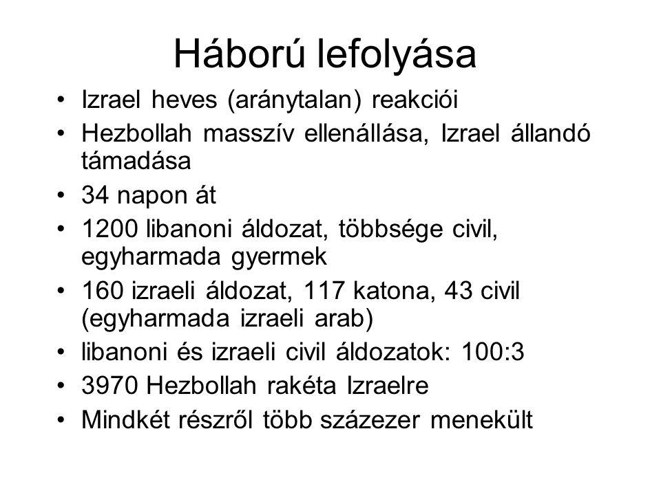 Háború lefolyása Izrael heves (aránytalan) reakciói Hezbollah masszív ellenállása, Izrael állandó támadása 34 napon át 1200 libanoni áldozat, többsége civil, egyharmada gyermek 160 izraeli áldozat, 117 katona, 43 civil (egyharmada izraeli arab) libanoni és izraeli civil áldozatok: 100:3 3970 Hezbollah rakéta Izraelre Mindkét részről több százezer menekült