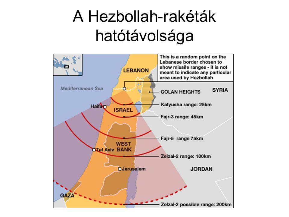 A Hezbollah-rakéták hatótávolsága