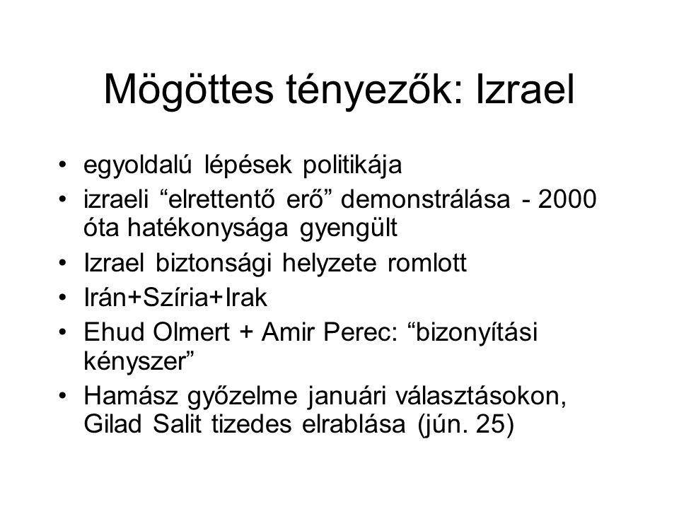 Mögöttes tényezők: Izrael egyoldalú lépések politikája izraeli elrettentő erő demonstrálása - 2000 óta hatékonysága gyengült Izrael biztonsági helyzete romlott Irán+Szíria+Irak Ehud Olmert + Amir Perec: bizonyítási kényszer Hamász győzelme januári választásokon, Gilad Salit tizedes elrablása (jún.