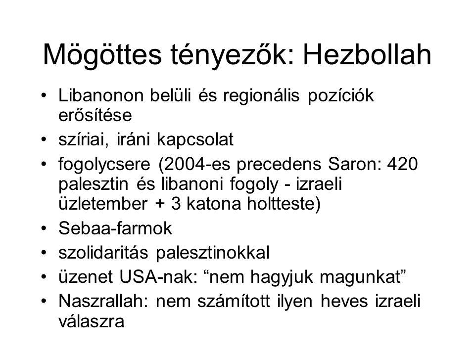Mögöttes tényezők: Hezbollah Libanonon belüli és regionális pozíciók erősítése szíriai, iráni kapcsolat fogolycsere (2004-es precedens Saron: 420 palesztin és libanoni fogoly - izraeli üzletember + 3 katona holtteste) Sebaa-farmok szolidaritás palesztinokkal üzenet USA-nak: nem hagyjuk magunkat Naszrallah: nem számított ilyen heves izraeli válaszra