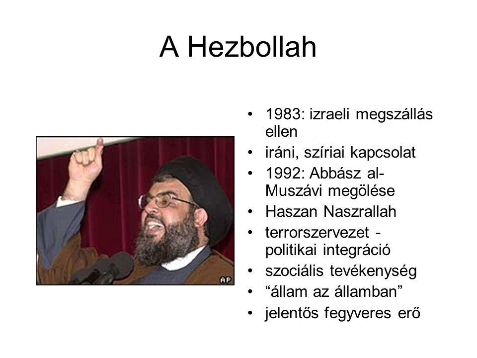 A Hezbollah 1983: izraeli megszállás ellen iráni, szíriai kapcsolat 1992: Abbász al- Muszávi megölése Haszan Naszrallah terrorszervezet - politikai integráció szociális tevékenység állam az államban jelentős fegyveres erő