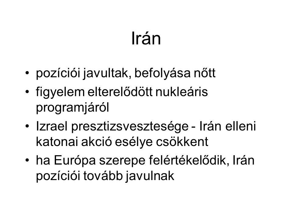 Irán pozíciói javultak, befolyása nőtt figyelem elterelődött nukleáris programjáról Izrael presztizsvesztesége - Irán elleni katonai akció esélye csökkent ha Európa szerepe felértékelődik, Irán pozíciói tovább javulnak