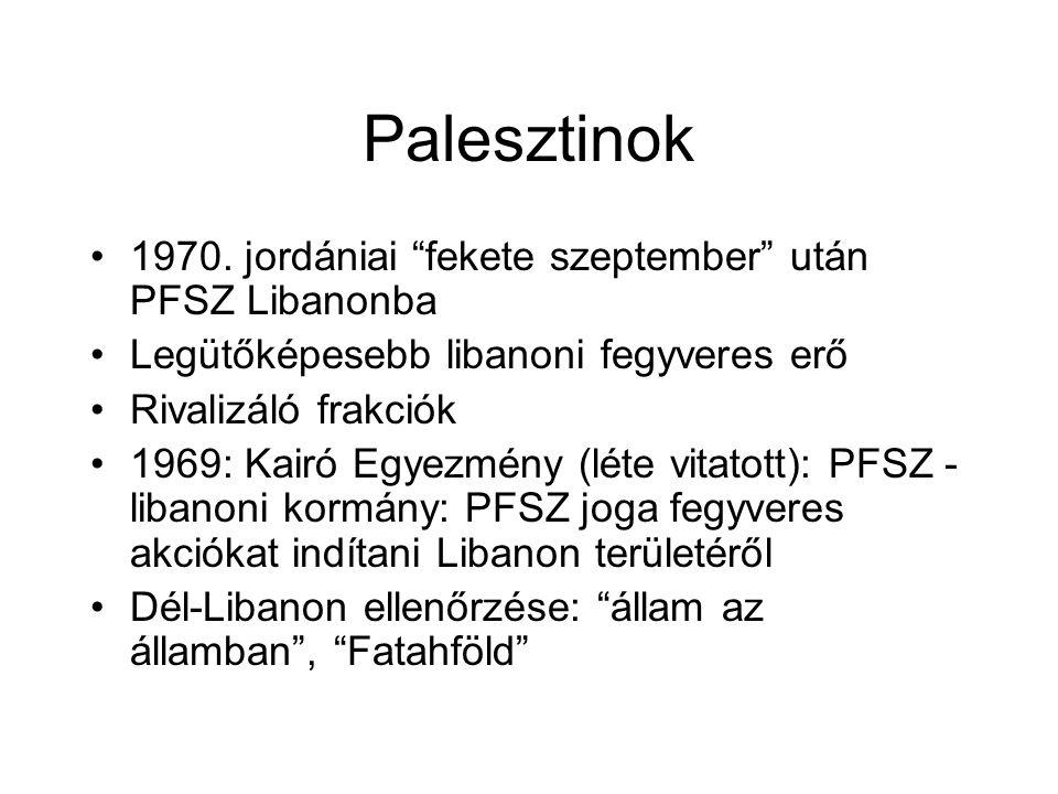"""Palesztinok 1970. jordániai """"fekete szeptember"""" után PFSZ Libanonba Legütőképesebb libanoni fegyveres erő Rivalizáló frakciók 1969: Kairó Egyezmény (l"""