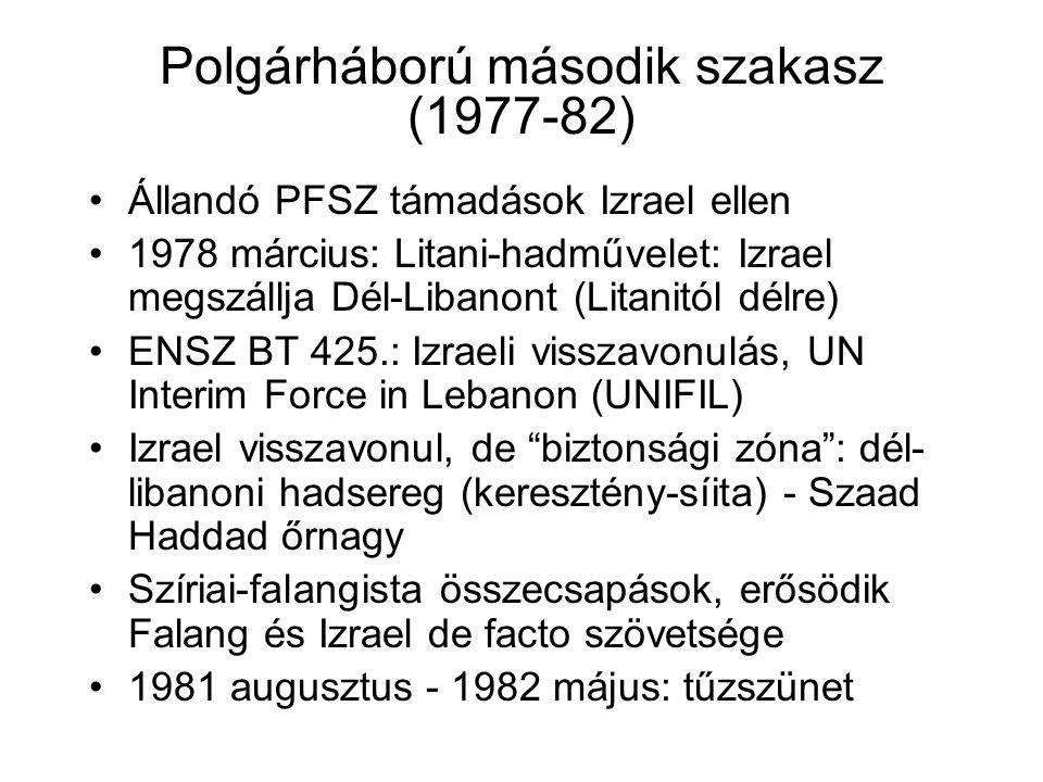 Polgárháború második szakasz (1977-82) Állandó PFSZ támadások Izrael ellen 1978 március: Litani-hadművelet: Izrael megszállja Dél-Libanont (Litanitól délre) ENSZ BT 425.: Izraeli visszavonulás, UN Interim Force in Lebanon (UNIFIL) Izrael visszavonul, de biztonsági zóna : dél- libanoni hadsereg (keresztény-síita) - Szaad Haddad őrnagy Szíriai-falangista összecsapások, erősödik Falang és Izrael de facto szövetsége 1981 augusztus - 1982 május: tűzszünet