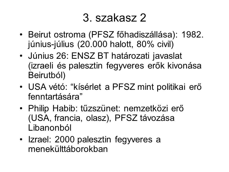 3. szakasz 2 Beirut ostroma (PFSZ főhadiszállása): 1982. június-július (20.000 halott, 80% civil) Június 26: ENSZ BT határozati javaslat (izraeli és p