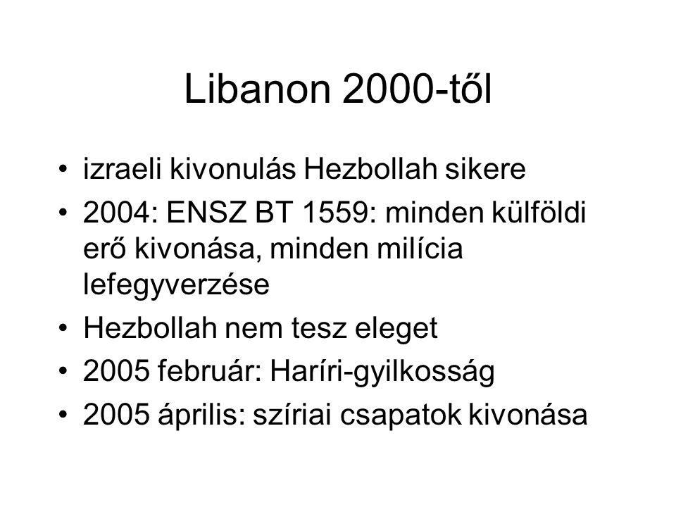 Libanon 2000-től izraeli kivonulás Hezbollah sikere 2004: ENSZ BT 1559: minden külföldi erő kivonása, minden milícia lefegyverzése Hezbollah nem tesz eleget 2005 február: Haríri-gyilkosság 2005 április: szíriai csapatok kivonása