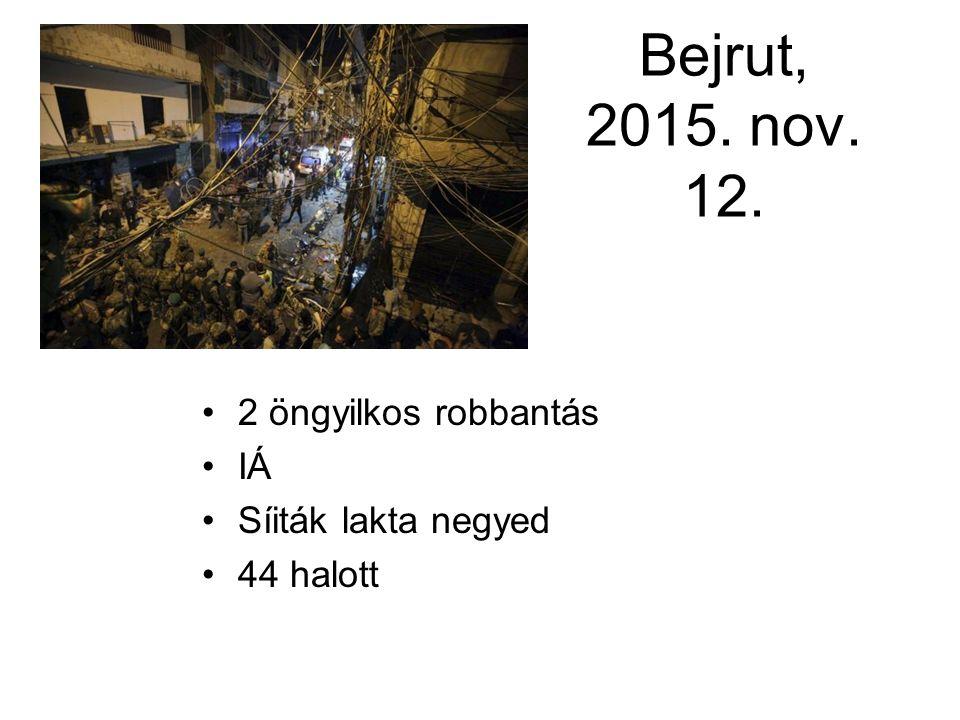 Bejrut, 2015. nov. 12. 2 öngyilkos robbantás IÁ Síiták lakta negyed 44 halott