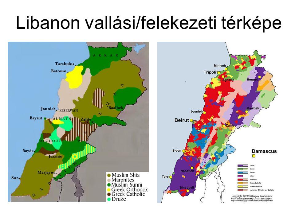 Libanon vallási/felekezeti térképe