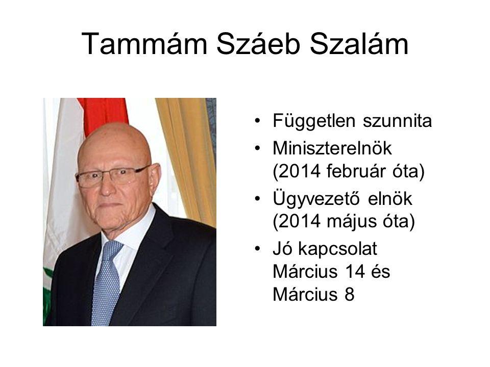 Tammám Száeb Szalám Független szunnita Miniszterelnök (2014 február óta) Ügyvezető elnök (2014 május óta) Jó kapcsolat Március 14 és Március 8