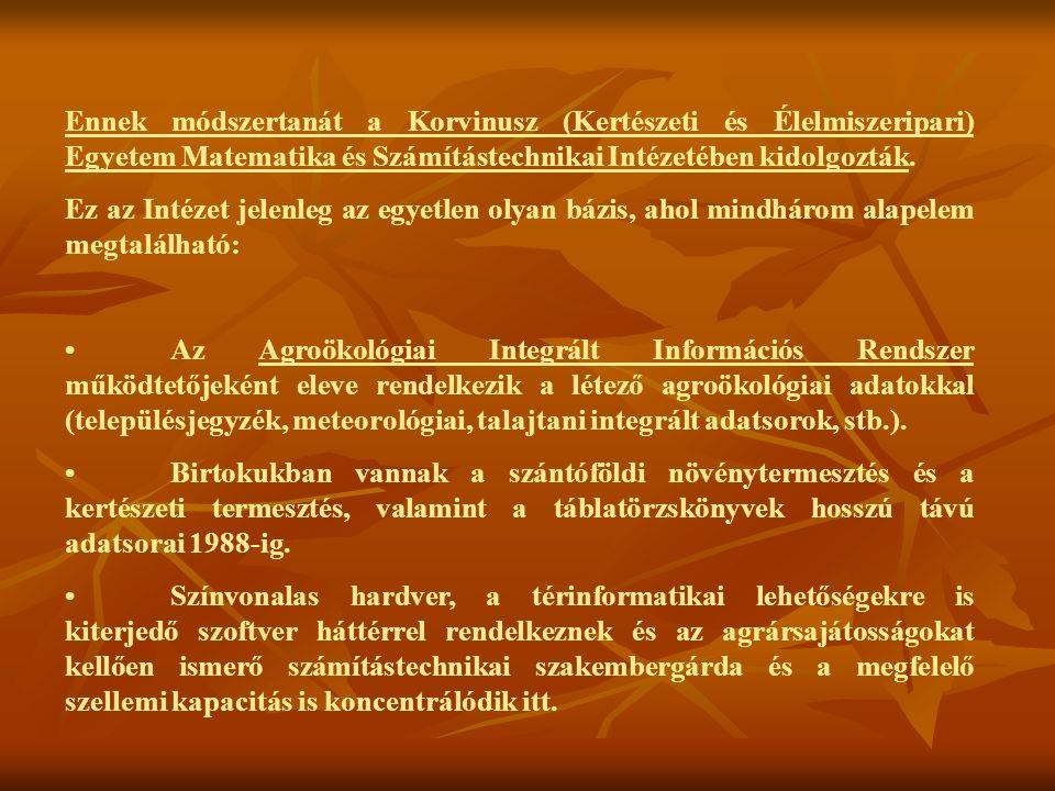 Ennek módszertanát a Korvinusz (Kertészeti és Élelmiszeripari) Egyetem Matematika és Számítástechnikai Intézetében kidolgozták.