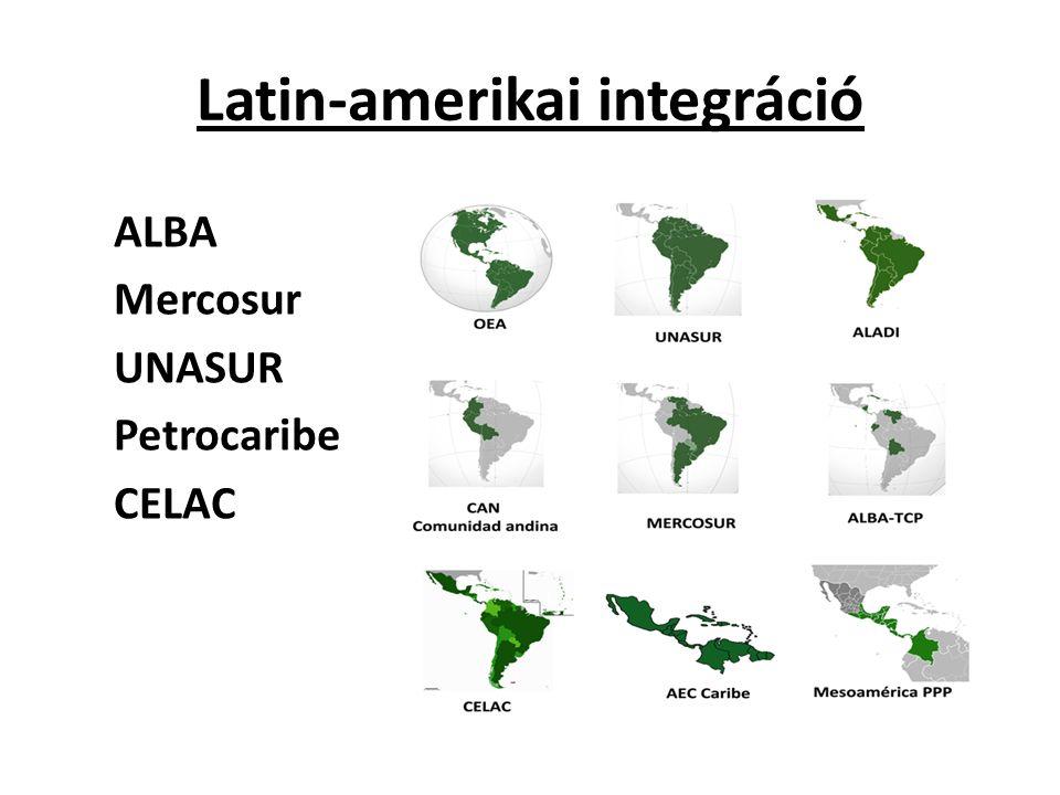 Latin-amerikai integráció ALBA Mercosur UNASUR Petrocaribe CELAC
