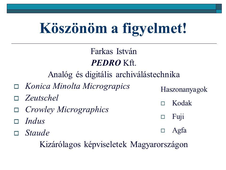Köszönöm a figyelmet. Farkas István PEDRO Kft.