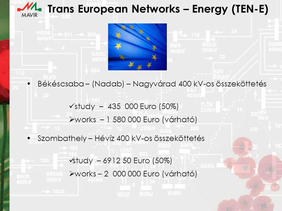 Trans European Networks – Energy (TEN-E) Békéscsaba – (Nadab) – Nagyvárad 400 kV-os összeköttetés study – 435 000 Euro (50%)  works – 1 580 000 Euro (várható) Szombathely – Hévíz 400 kV-os összeköttetés study – 6912 50 Euro (50%)  works – 2 000 000 Euro (várható)