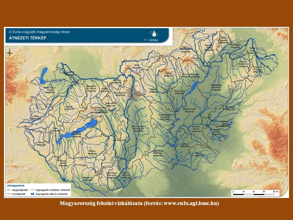 Magyarország felszíni vízhálózata (forrás: www.enfo.agt.bme.hu)