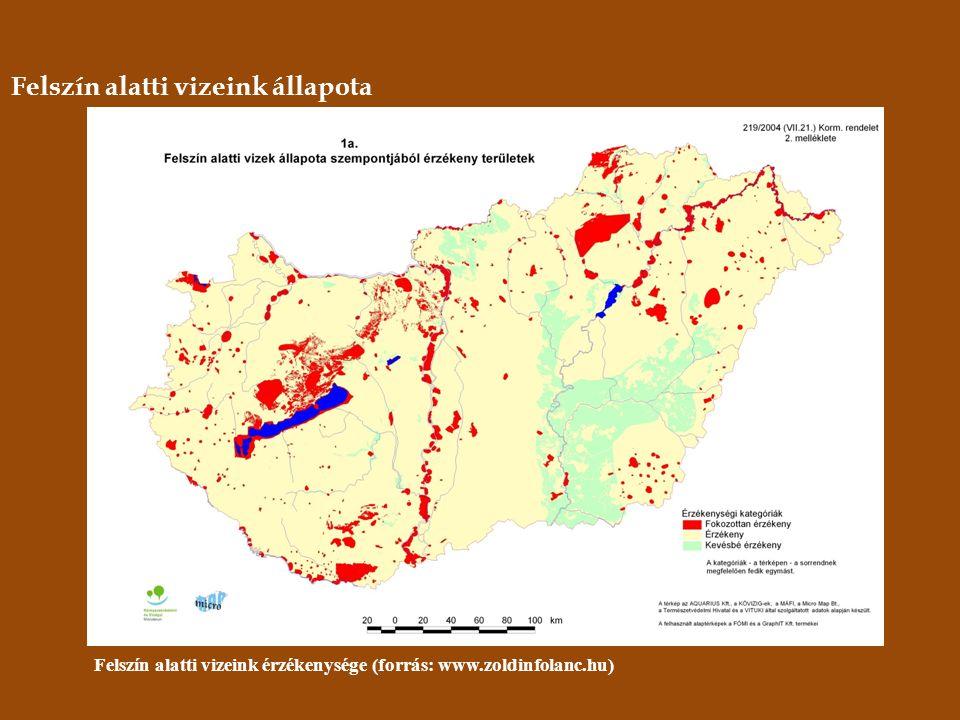 Felszín alatti vizeink állapota Felszín alatti vizeink érzékenysége (forrás: www.zoldinfolanc.hu)