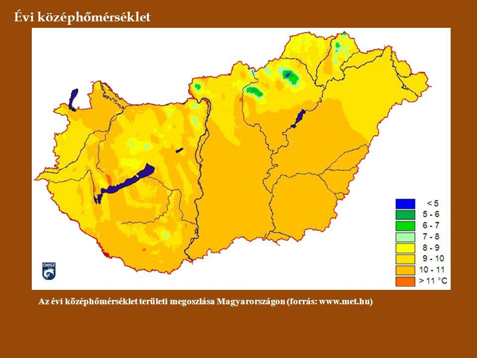 Évi középhőmérséklet Az évi középhőmérséklet területi megoszlása Magyarországon (forrás: www.met.hu)
