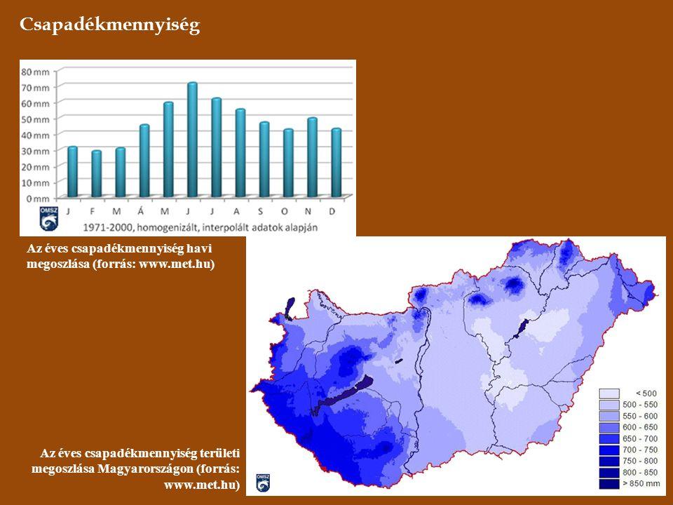 Csapadékmennyiség Az éves csapadékmennyiség havi megoszlása (forrás: www.met.hu) Az éves csapadékmennyiség területi megoszlása Magyarországon (forrás: www.met.hu)