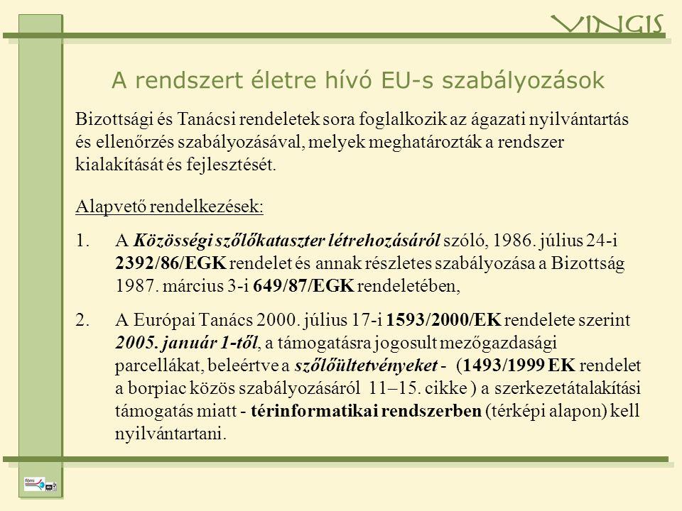 A VINGIS hazai jogi háttere Magyarországon a szőlő ültetvényregiszter térinformatikai hátterének kialakítását a hegyközségek nyilvántartásának (HEGYIR) megfelelően a Földmérési és Távérzékelési Intézet (FÖMI) a 119/2003.