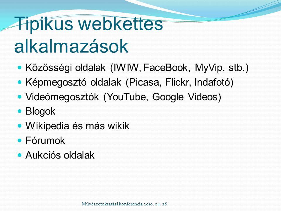 Tipikus webkettes alkalmazások Közösségi oldalak (IWIW, FaceBook, MyVip, stb.) Képmegosztó oldalak (Picasa, Flickr, Indafotó) Videómegosztók (YouTube, Google Videos) Blogok Wikipedia és más wikik Fórumok Aukciós oldalak Művészetoktatási konferencia 2010.