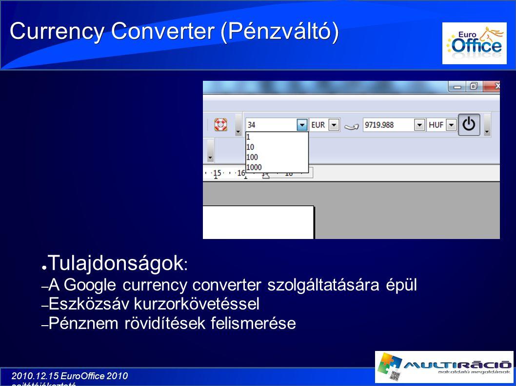 2010.12.15 EuroOffice 2010 sajtótájékoztató Currency Converter (Pénzváltó) ● Tulajdonságok : – A Google currency converter szolgáltatására épül – Eszközsáv kurzorkövetéssel – Pénznem rövidítések felismerése