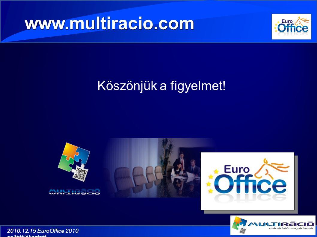 2010.12.15 EuroOffice 2010 sajtótájékoztató Köszönjük a figyelmet! www.multiracio.com
