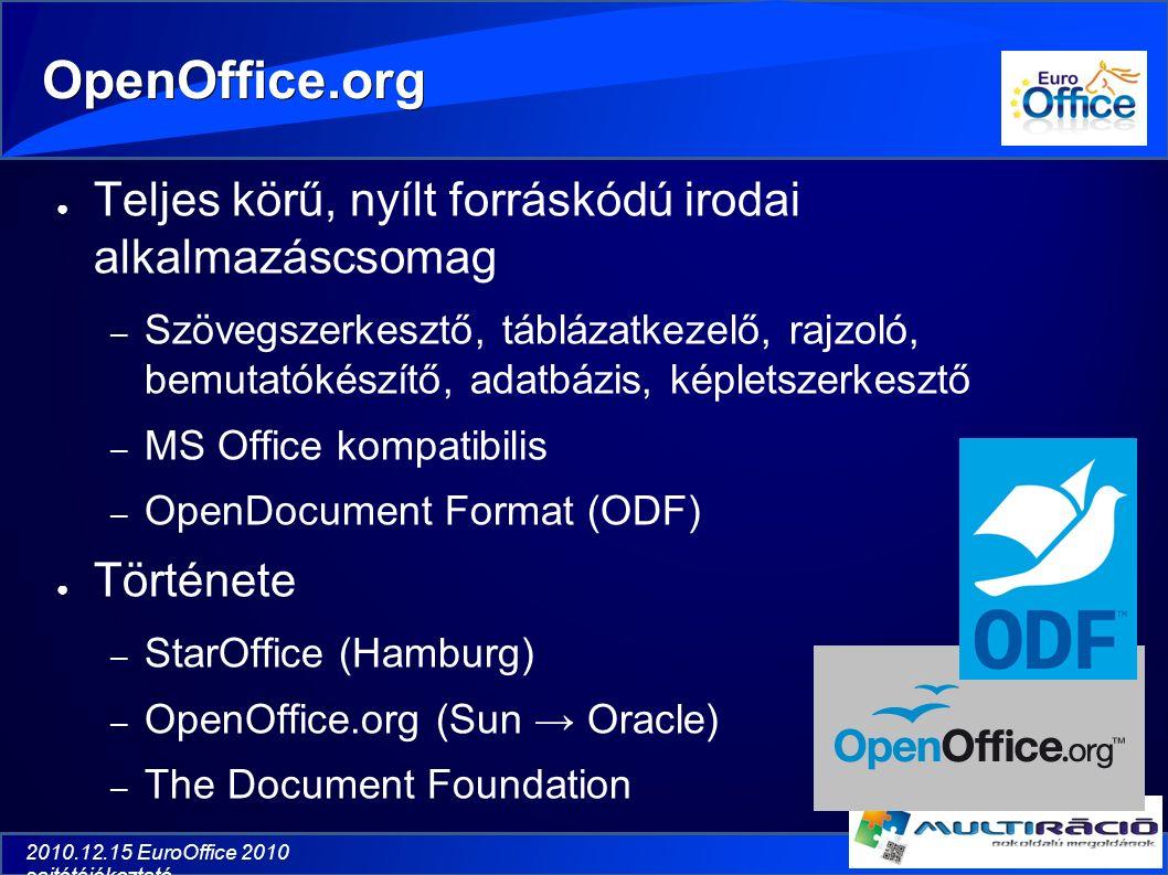 2010.12.15 EuroOffice 2010 sajtótájékoztató OpenOffice.org ● Teljes körű, nyílt forráskódú irodai alkalmazáscsomag – Szövegszerkesztő, táblázatkezelő, rajzoló, bemutatókészítő, adatbázis, képletszerkesztő – MS Office kompatibilis – OpenDocument Format (ODF) ● Története – StarOffice (Hamburg) – OpenOffice.org (Sun → Oracle) – The Document Foundation