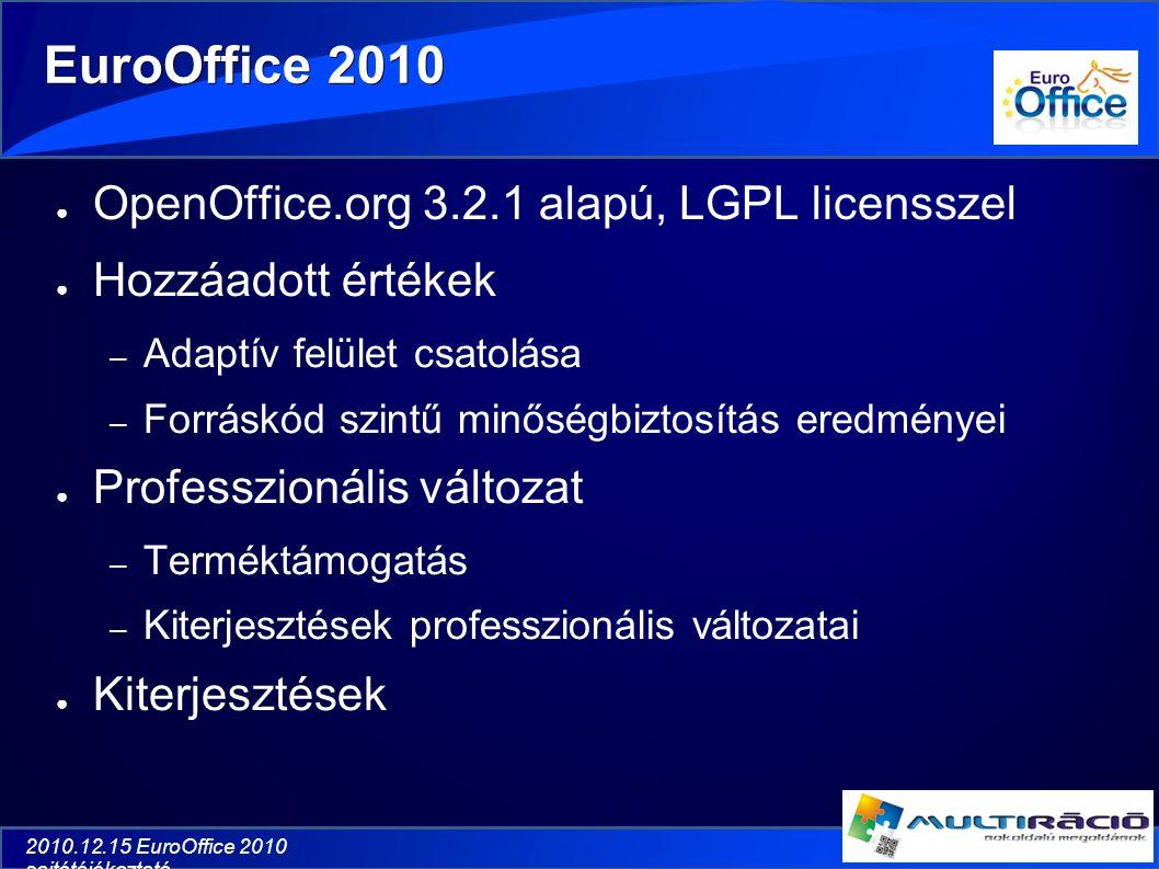 2010.12.15 EuroOffice 2010 sajtótájékoztató EuroOffice 2010 ● OpenOffice.org 3.2.1 alapú, LGPL licensszel ● Hozzáadott értékek – Adaptív felület csatolása – Forráskód szintű minőségbiztosítás eredményei ● Professzionális változat – Terméktámogatás – Kiterjesztések professzionális változatai ● Kiterjesztések