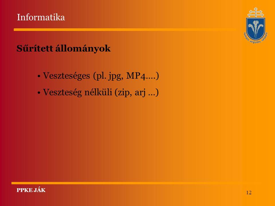 12 Sűrített állományok Veszteséges (pl.