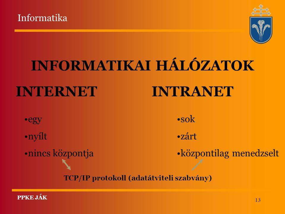13 INFORMATIKAI HÁLÓZATOK INTERNET INTRANET egy nyílt nincs központja sok zárt központilag menedzselt TCP/IP protokoll (adatátviteli szabvány) Informatika PPKE JÁK